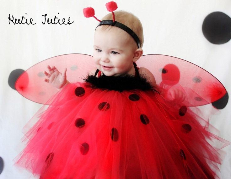 lady bug tutu dress red and black dots with wings halloween costume birthday - Halloween Costume For Baby Girls