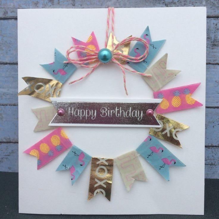 Pretty Washi Tape wreath card by Christine using Dovecraft Washi designs.