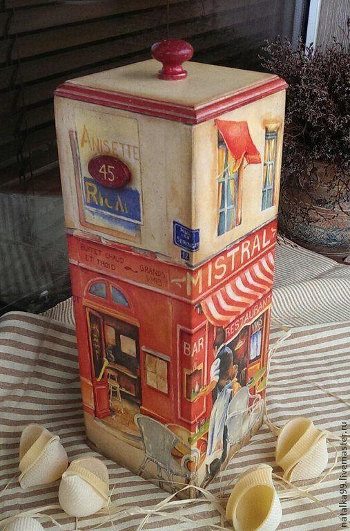 """Купить Короб для спагетти """"Бистро в Париже"""" - разноцветный, короб для хранения, короб для кухни, короб для специй"""