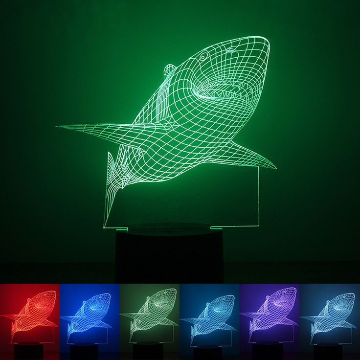 Hot 3D Shark Illusion Decor Bulbing Sensor Night Light LED USB Electronic Home Gadget Bedroom Table Lamp Nightlight Child Gift