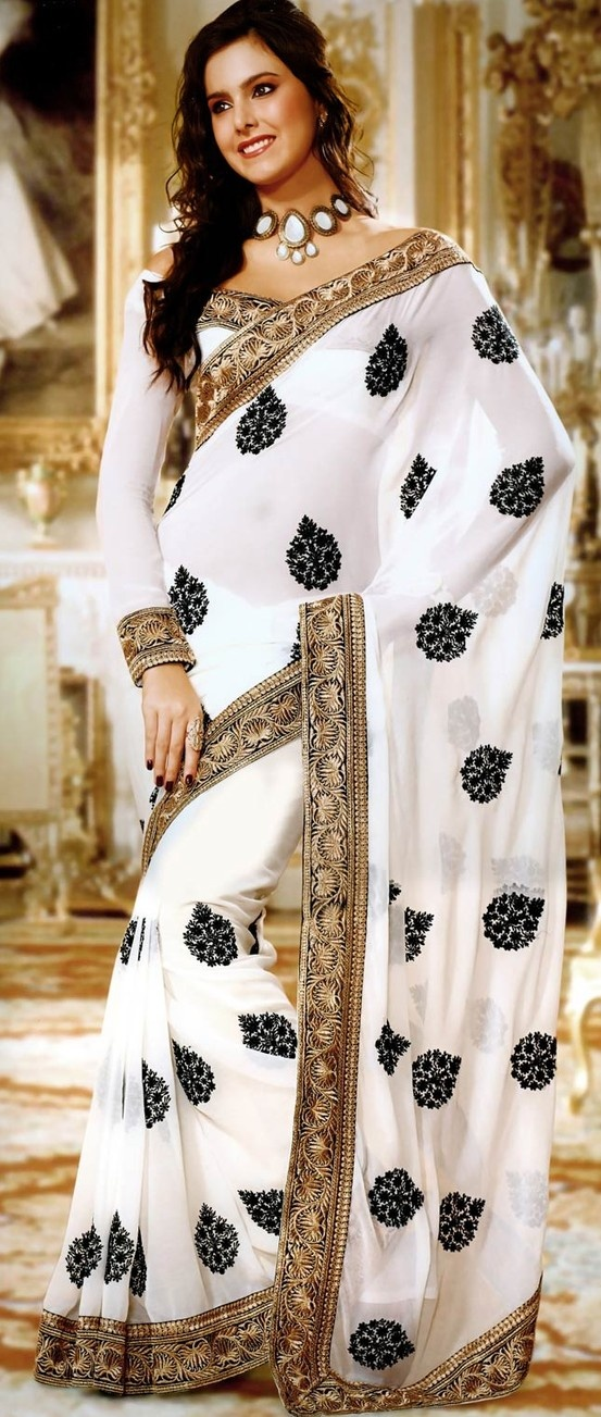 """Guests, also think """"Would this make Gurpreet proud?"""" If yes, go for it. If not, chaaannggeee! #White Faux #Chiffon #SareewithBlouse @ $67.74"""