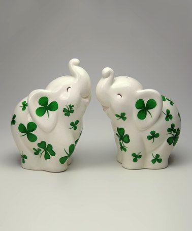Elephants With Shamrocks Salt And Pepper Shaker Set By Cosmos Gifts