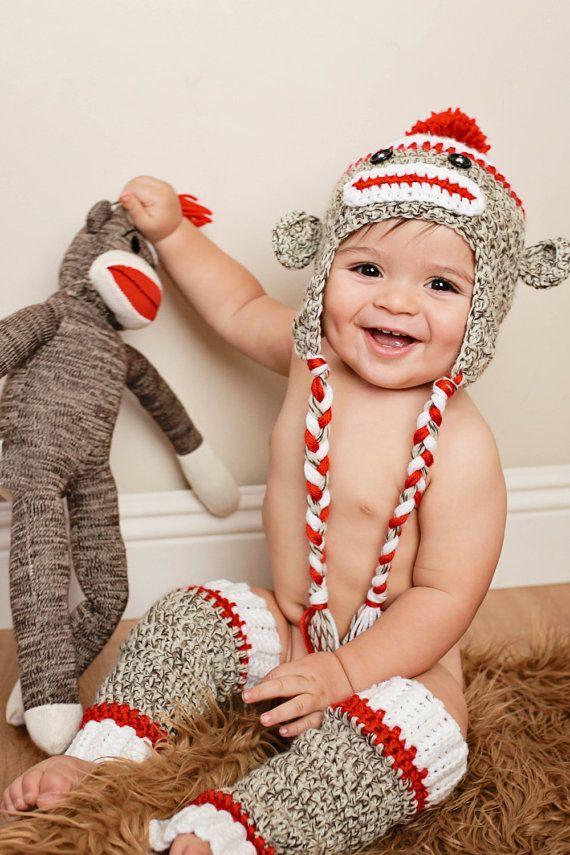 Sock Monkey Hat & Matching Leg Warmers Set- Crochet Hat - Boy or Girl- Leg Warmers - Photo Prop. $35.00, via Etsy.