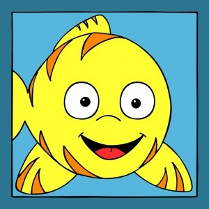 Vrolijk kinderschilderij van een tropische vis. Deze is op canvas gedrukt en in met verschillende achtergrond kleuren te bestellen. Leuk voor in de kinderkamer of babykamer of cadeau te geven bij een geboorte.