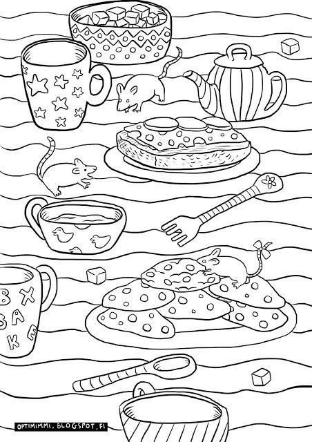 OPTIMIMMI | A free coloring page of mice on the table with mugs, cookies and so on! / Ilmainen värityskuva hiiristä pöydällä mukien, keksien ja muiden joukossa!