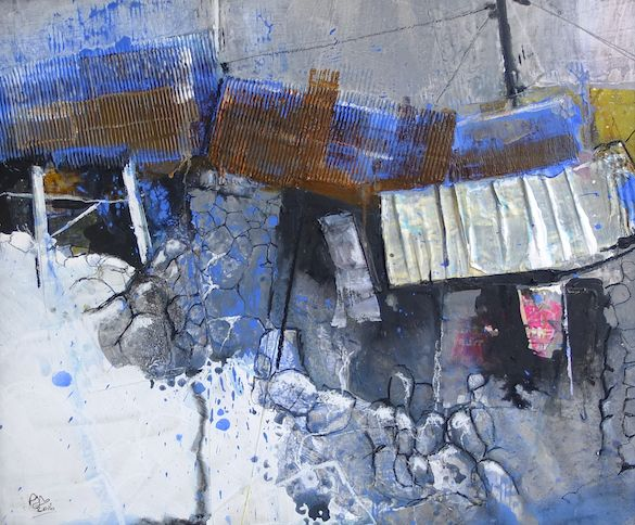 PETE MONAGHAN PM043The Blue Barn Ysgubor Las, mixed media on board, 50x60