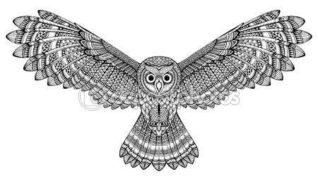 Mano de vector dibujado buho volando. Blanco y negro zentangle arte — Vector de stock