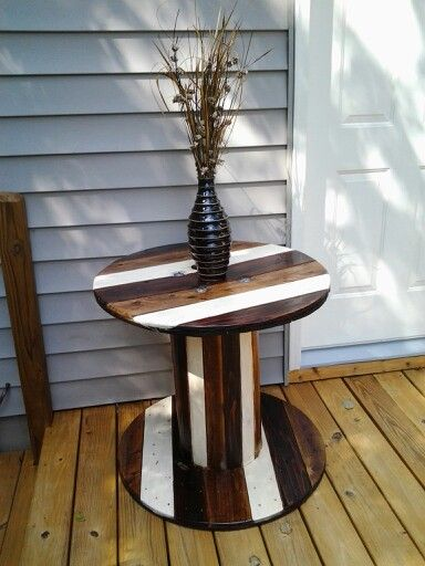 Finished my first wooden spool table!! Love this...