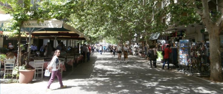 Areopagitou pedestrian street, Athens, from the Temple of Olympian Zeus towards the Acropolis Museum.