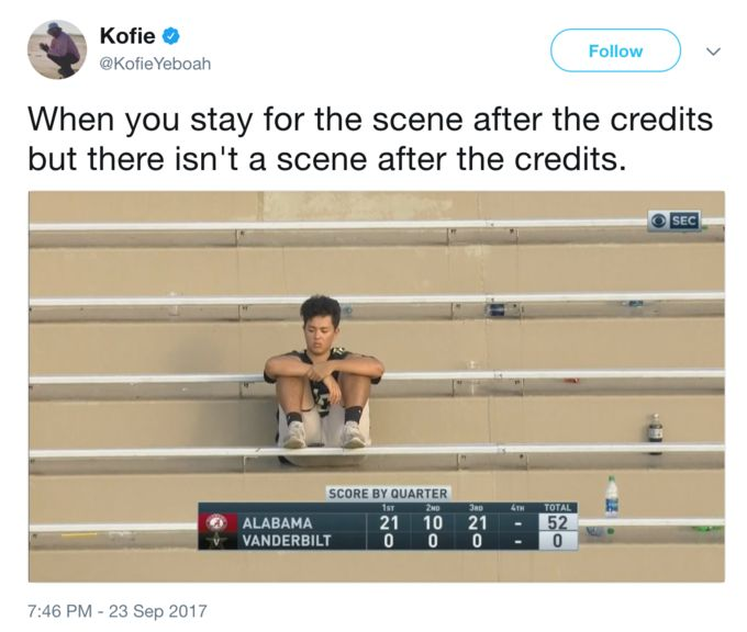 Sad Vandy Kid | Know Your Meme    Sad Vandy Kid is the nickname given to a young Vanderbilt Commodores football team fan who was photographed appearing distraught while the team was losing 52-0 against the Alabama Crimson Tide in late September 2017. On Twitter, the picture was subsequently used as a reaction image captioned with jokes about various disappointing and upsetting scenarios.    Read more at KnowYourMeme.com
