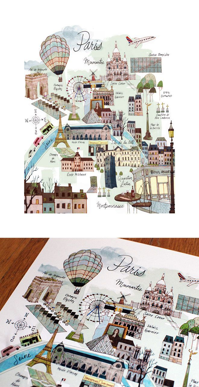 Miss Moss : Illustrated Map of Paris by Josie Portillo