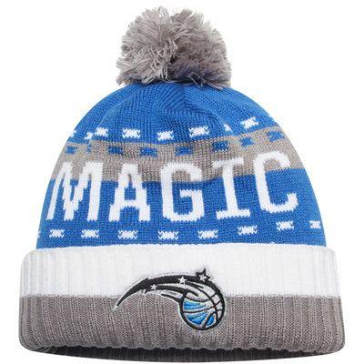 Men's adidas Blue/Gray Orlando Magic Stripe Cuffed Knit Hat with Pom