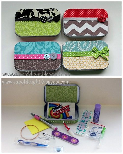 DIY Altoids Tin Emergency Kit Tutorial Cup of Delight here.I like making and getting kits - whether its wrapping paper kits, survival kits, food in a jar etc These are also good assembly line crafts.This is a much smaller version of the gift in a jar post (sewing, energy, relaxation, etc) here.For more Alotid Tins DIYs go here.