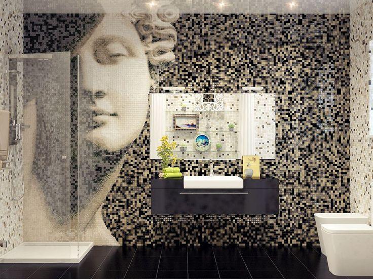 Белая мозаика в ванной комнате: 80+ интерьерных воплощений цветового пуризма и чистоты http://happymodern.ru/belaya-mozaika-v-vannoj/ Роскошная отделка стен мозаичной картиной в теплых тонах Смотри больше http://happymodern.ru/belaya-mozaika-v-vannoj/