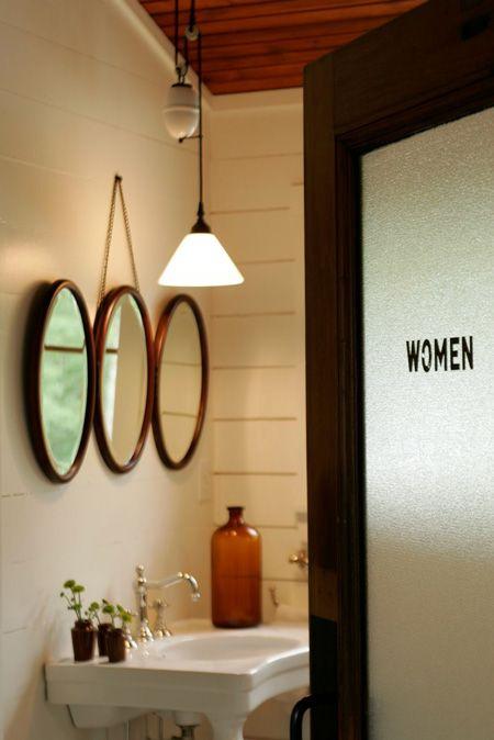 Women's room door.: Bathroom Design, The Doors, Bathroom Doors, Guest Bathroom, Bathroom Mirror, Glasses Doors, Frostings Glasses, Powder Rooms, Design Bathroom