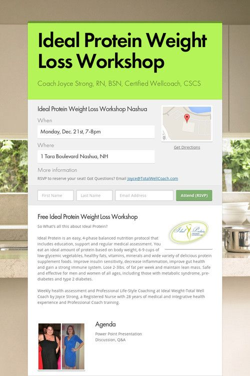 Help Spread The Word About Ideal Protein Weight Loss Workshop Please Share
