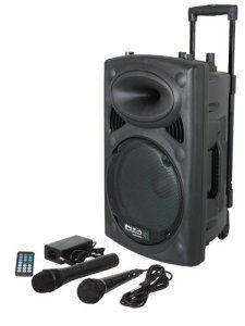 Ibiza Port 8 VHF – Enceinte sono portable – Haut parleur avec micro sans fil et micro fil et lecteur MP3 (USB SD, chassis ABS, batterie…