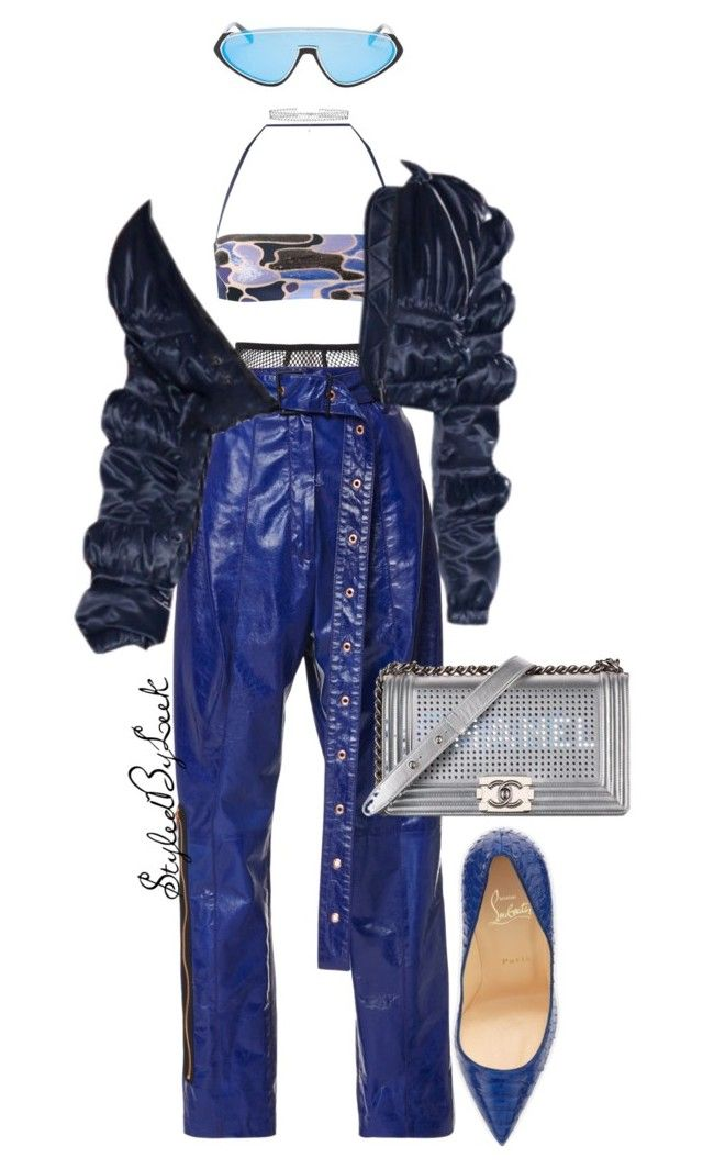 """""""StyledByLeek"""" by stylebywho ❤ liked on Polyvore featuring Fleur du Mal, La Perla, Emilio Pucci, Christian Louboutin, Chanel and DANNIJO"""