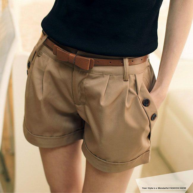 Roupas femininas 2014summer moda shorts casuais frisando qualidade XL Mulheres cintura fina fino hot pants quinta em Calças - Feminino de Ro...