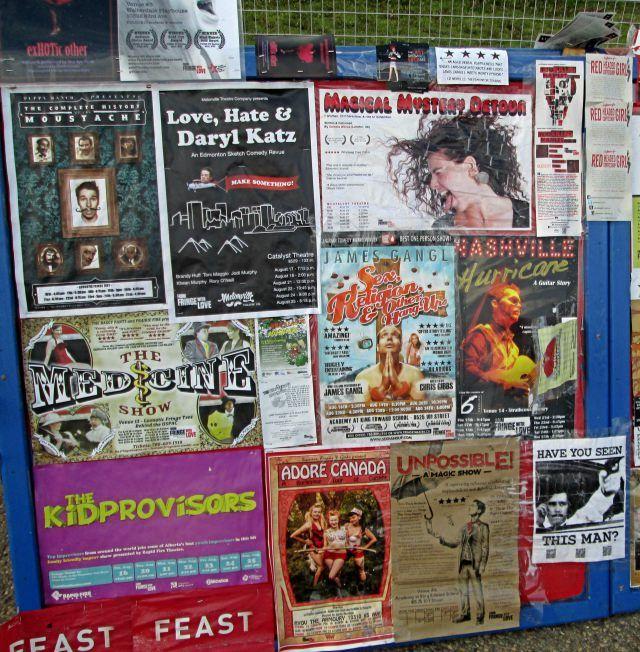 Posters at the 2013 Edmonton International Fringe Festival.