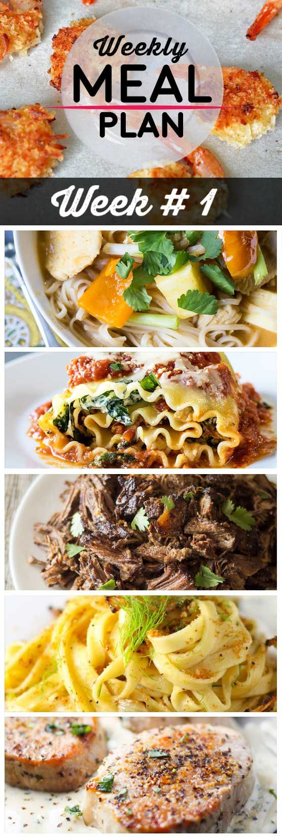 Weekly Meal Plan #1! A simple weekly meal plan to help you keep things tasty throughout the week, featuring coconut shrimp, barbaoca beef, lasagna roll-ups, and more! | HomemadeHooplah.com