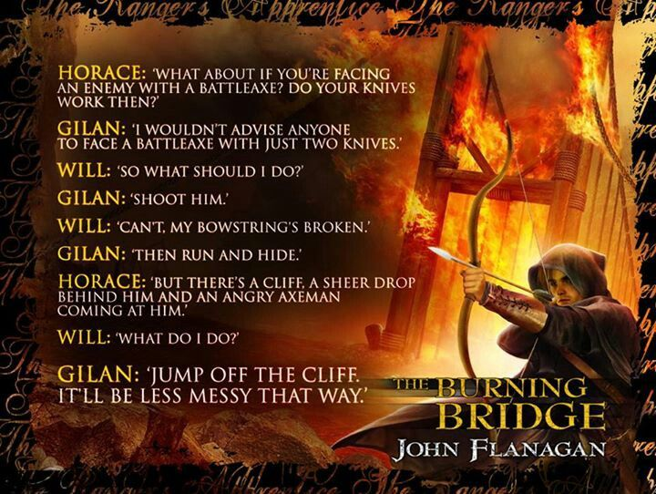 rangers apprentice the burning bridge book report Like all rangers, halt is a master of  as the ranger's apprentice series progresses,  will and horace find her in book two: the burning bridge,.