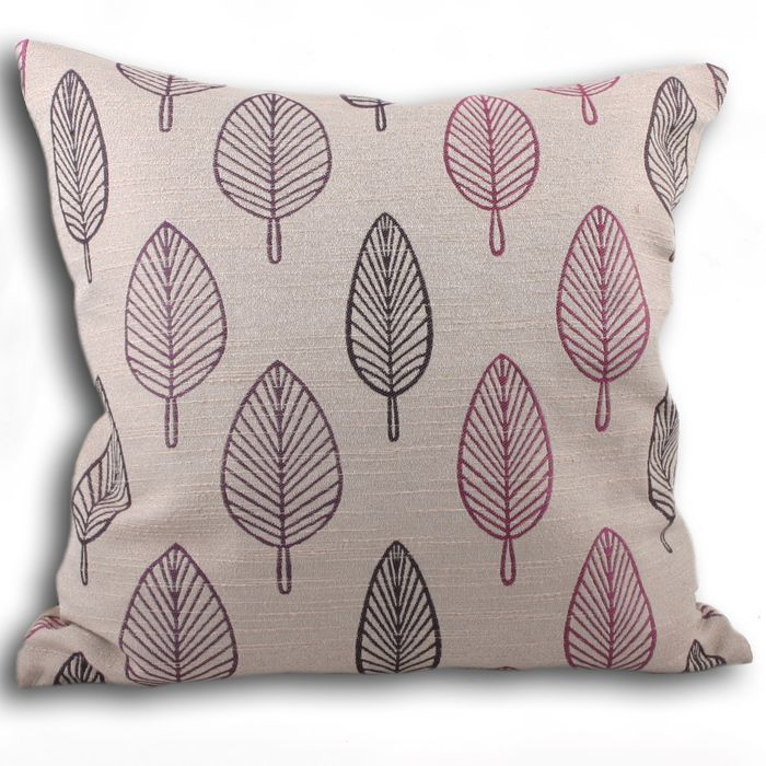 Tango Cushion Cover Available in Damson, Green, Natural and Teal Chenille Style Leaf Design