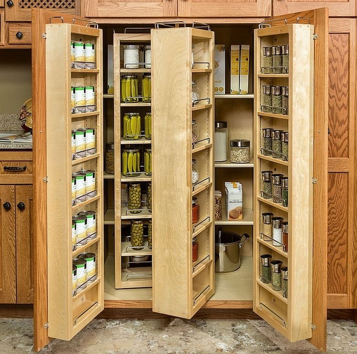 Wooden Storage With Doors And Shelves Food
