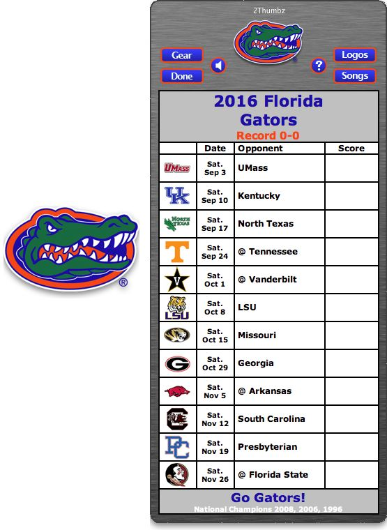 Get your 2016 Florida Gators Football Schedule Mac App for Mac OS X - Go Gators!  http://2thumbzmac.com/teamPages/Florida_Gators.htm