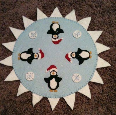 Santa Penguins Penny Rug Pattern