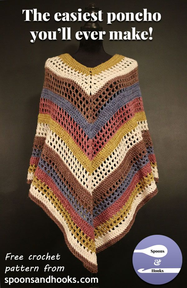 This lightweight poncho has a streamlined silhouette and a lovely subtle texture. And, you can crochet it quickly and easily from just two Caron Cakes using only elementary crochet stitches!