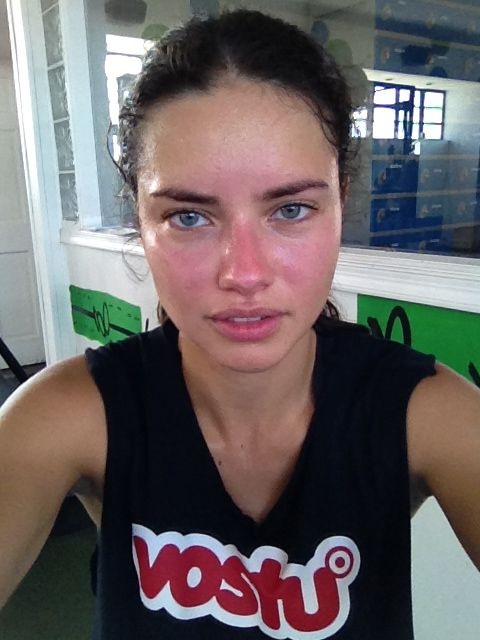 adriana lima without makeup. that's right... adriana lima. she's beautiful, but not the unattainably beautiful image that so many women compare themselves against...