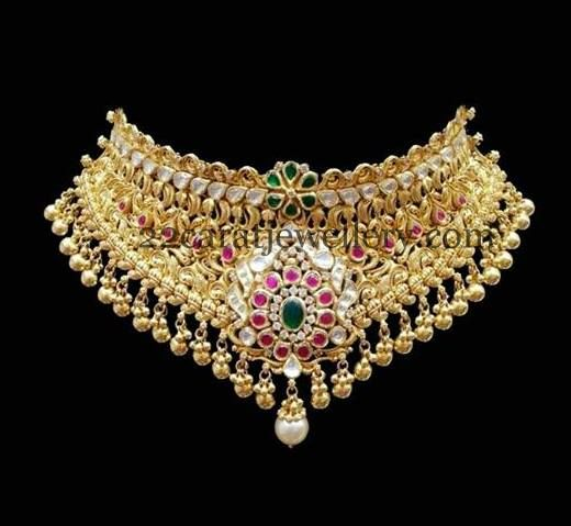 Kundan Choker with Gold Balls Bunches - Jewellery Designs