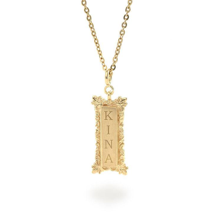 Tulola Engraved Rectangular Pendant Gold Dip (Custom Order) http://www.shoptulola.com/collections/engraved-rectangular-pendant-custom-order.html #SophieParis