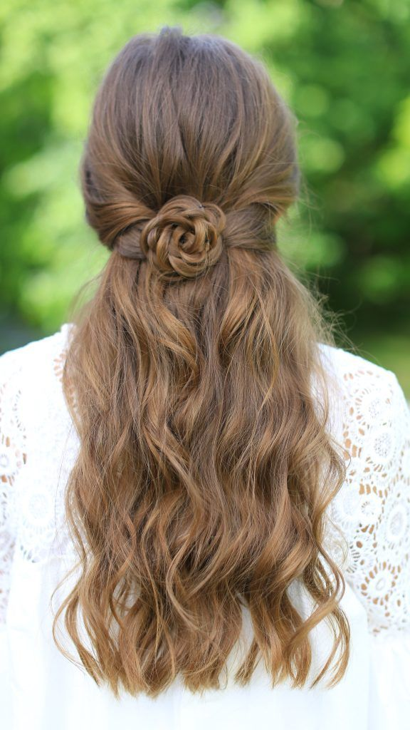 rosette tie back | half up hairstyle with braid