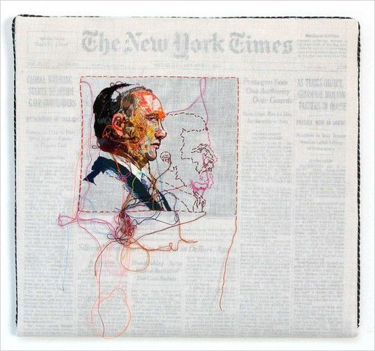 California-based artist Lauren DiCioccio hand-embroiders over old issues of The New York Times. Each piece is wrapped in cotton muslin which one selected image hand-embroidered.: Cotton Muslin, Awesome Gift, Lauren Dicioccio, California Bas Artists, Artists Lauren, Embroidered Issues, New York Times, Dicioccio Hands Embroidered, Hands Embroidered Newspaper