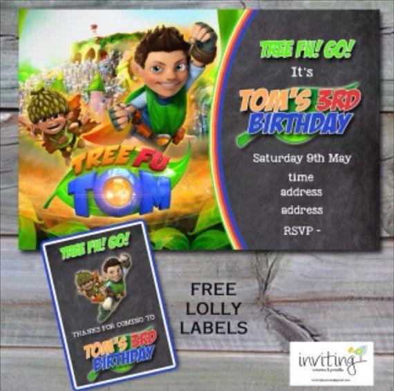 Tree Fu Tom Birthday Invite Invitation FREE by Invitingbyrenee