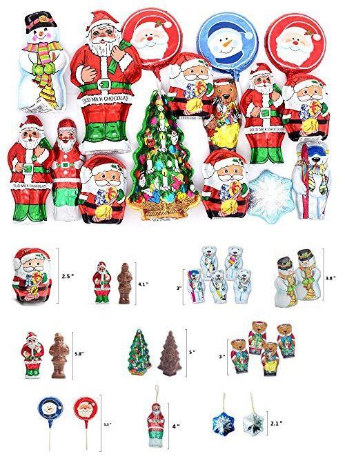 Christmas Gift Box with Madelaine Christmas Premium Chocolates - Large Christmas Pop, Santa Ornaments, Snowflake Ornament, Christmas TREE, Snowman, Polar and Santa Bear, 16 Pieces