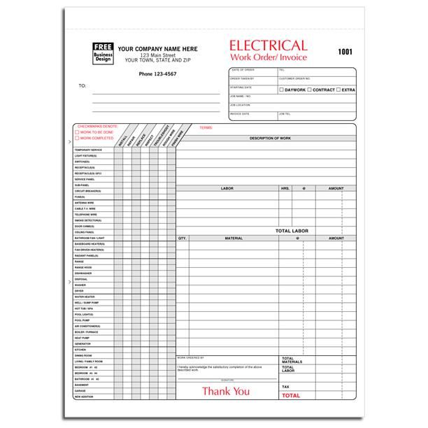 Electrician Invoice 3 Part Carbonless Copies Preprinted Personalized Electrical Work Electrical Estimating Electricity
