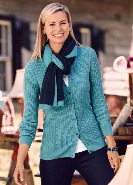 Niki Taylor, Talbots october 2015. Just bought this cardigan in mauve.  But might go back and get the teal as well since it's a real bargain at 40% off!