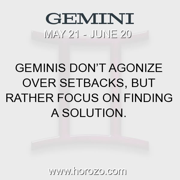 Fact about Gemini: Geminis don't agonize over setbacks, but rather focus... #gemini, #geminifact, #zodiac. Gemini, Join To Our Site https://www.horozo.com  You will find there Tarot Reading, Personality Test, Horoscope, Zodiac Facts And More. You can also chat with other members and play questions game. Try Now!