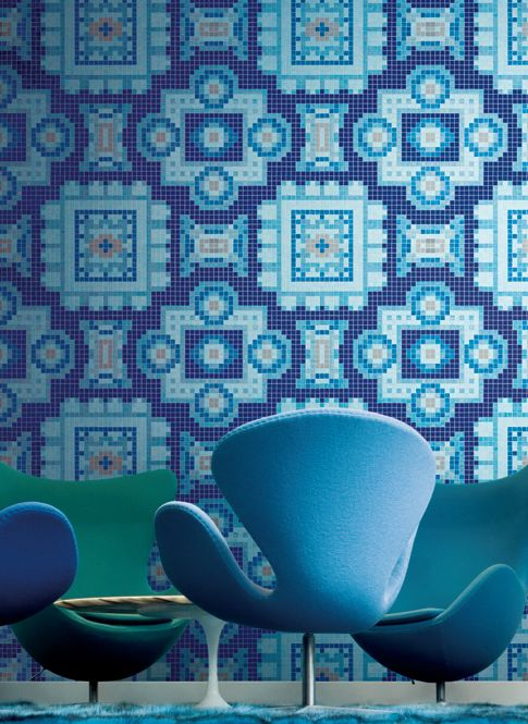 silk blue mosaic tile by bisazza on