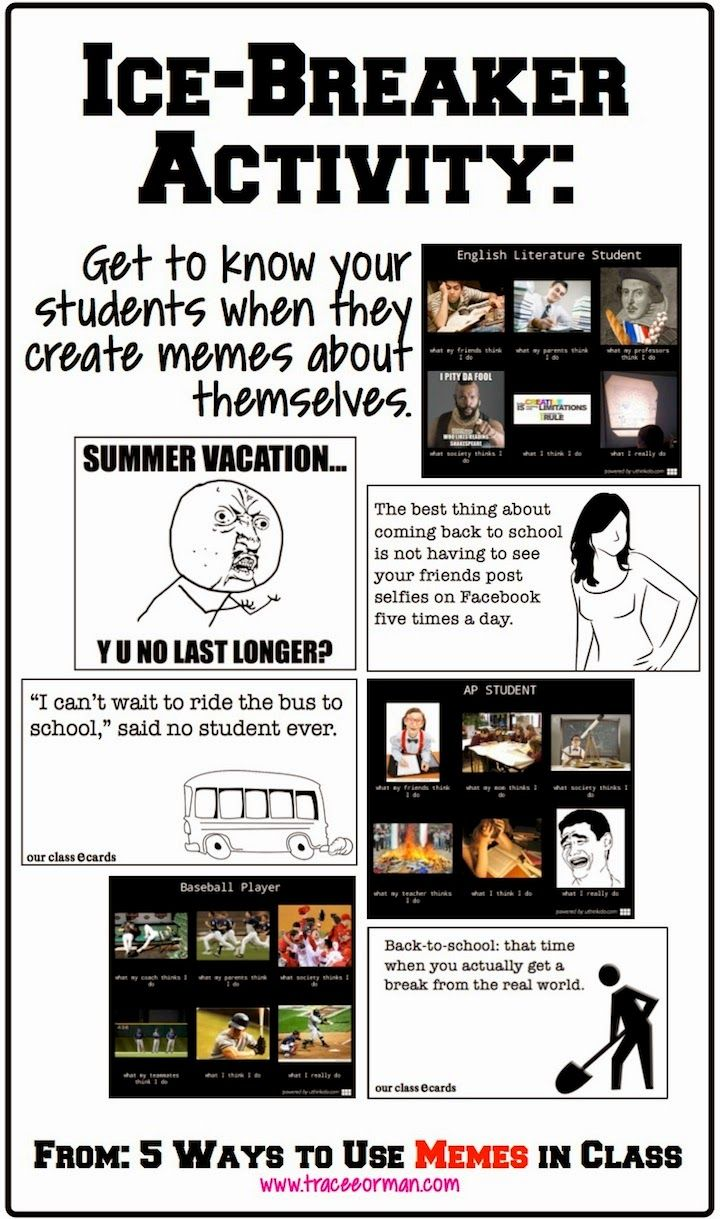 Use memes for an ice-breaker activity. #backtoschool #memes #edchat