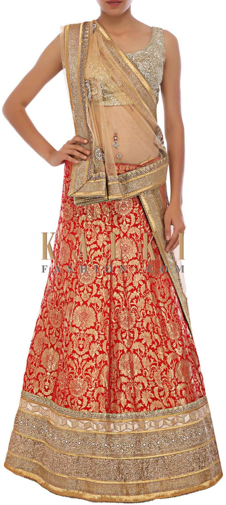 Buy Online from the link below. We ship worldwide (Free Shipping over US$100)http://www.kalkifashion.com/red-lehenga-embellished-in-kundan-and-kardana-only-on-kalki.html