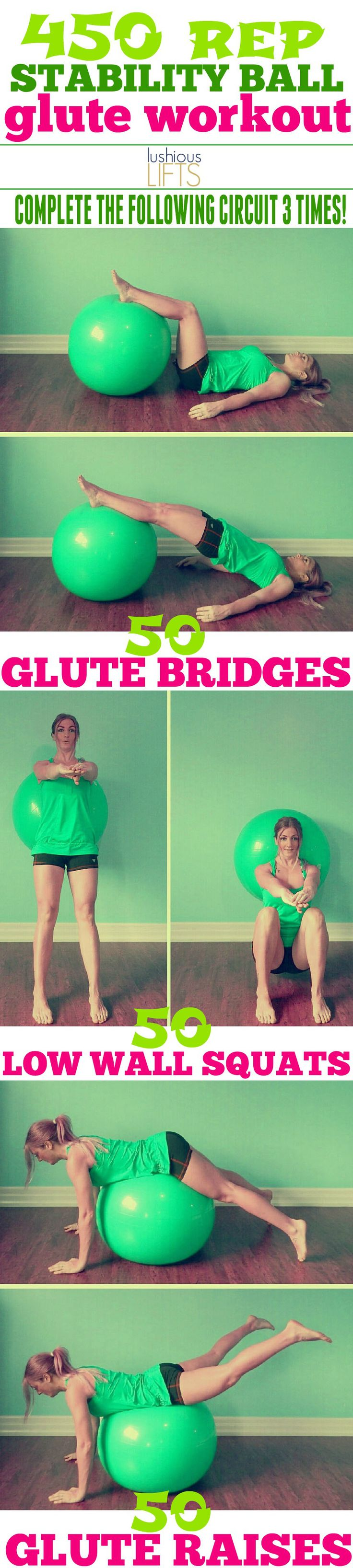 450 reps closer to creating a nice butt! {Stability Ball Glute Workout}