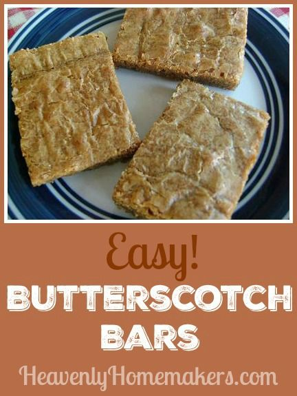 People can't get enough of these butterscotch bars. They're made with whole wheat but no one knows. They're made with only five ingredients - so easy!