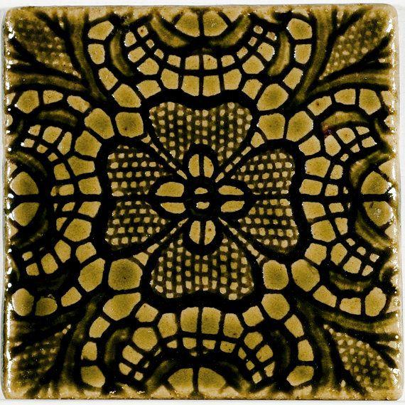 Terraviiva Hand Made Tile Lilja Vanha Vihreä by Terraviiva on Etsy