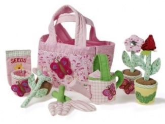 Wonderful Handmade Fabric Childrens Gardening Set and Flowers. Beautiful Gift for 3 year old Girls