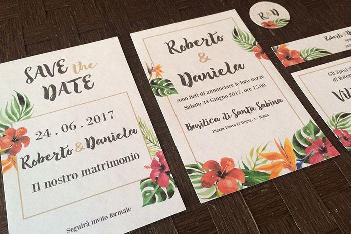 Partecipazione Matrimonio tema tropicale