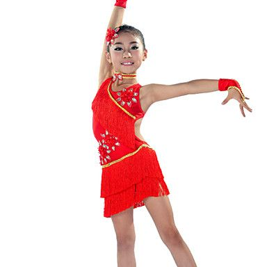 Latin dans Outfits Kinderen Prestatie elastan Kwastje(S) 5-delig Zwart / Rood / Koningsblauw / Wit Latin DansMouwen / Jurken / Neckwear / 4816119 2016 – €58.79